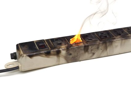 surge protector on fire